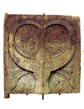 7: Wood Shrine Door with Buffalo Motif